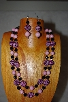 "+MBADS #001-641  ""Pink & Black Bead Double Strand Necklace & Earring Set"""