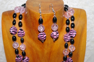 "MBADS #001-545  ""Pink & Black Bead Double Strand Necklace & Earring Set"""