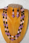 "+MBADS #001-545  ""Pink & Black Bead Double Strand Necklace & Earring Set"""