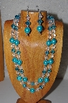 "+MBADS #04-0712  ""Aqua Blue & Clear Bead Necklace & Earring Set"""
