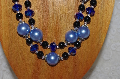 "MBADS #04-0716  ""Blue & Black Bead Necklace & Earring Set"""