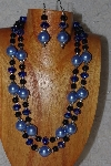"+MBADS #04-0716  ""Blue & Black Bead Necklace & Earring Set"""
