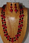 "+MBADS #04-721  ""Red & Black Bead Necklace & Earring Set"""