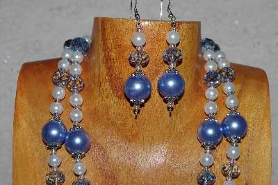"MBADS #04-0728  ""Blue & White Bead Necklace & Earring Set"""