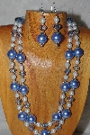 "+MBADS #04-0728  ""Blue & White Bead Necklace & Earring Set"""