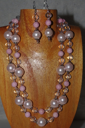 "MBADS #04-0734  ""Pink & Clear Bead Necklace & Earring Set"""