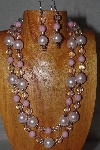 "+MBADS #04-0734  ""Pink & Clear Bead Necklace & Earring Set"""