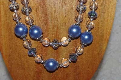 "MBADS #04-0739  ""Blue & Clear Bead Necklace & Earring Set"""
