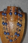 "+MBADS #04-0739  ""Blue & Clear Bead Necklace & Earring Set"""