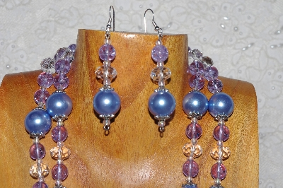 "MBADS #04-0745  ""Blue,Clear & Lavender Bead Necklace & Earring Set"""