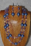"+MBADS #04-0745  ""Blue,Clear & Lavender Bead Necklace & Earring Set"""