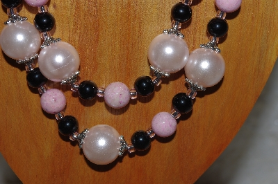 "MBADS #04-0752  ""Pink & Black Bead Necklace & Earring Set"""