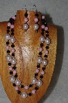 "+MBADS #04-0752  ""Pink & Black Bead Necklace & Earring Set"""