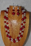 "+MBADS #04-757  ""Red & White Bead Necklace & Earring Set"""