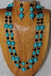 "+MBADS #04-763  ""Blue & Black Bead Necklace & Earring Set"""