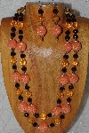 "+MBADS #04-767  ""Orange & Black Bead Necklace & Earring Set"""