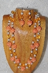 "+MBADS #04-774  ""Orange & White Bead Necklace & Earring Set"""