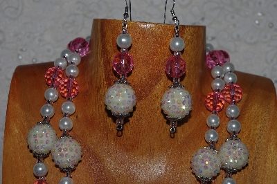 "MBADS #04-780  ""Pink & White Bead Necklace & Earring Set"""