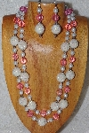 "+MBADS #04-780  ""Pink & White Bead Necklace & Earring Set"""
