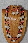 "+MBADS #04-785  ""Pink, White & Black Bead Necklace & Earring Set"""