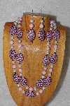 "+MBADS #04-791  ""Pink & White Bead Necklace & Earring Set"""