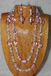 "+MBADS #04-803  ""Pink & White Bead Necklace & Earring Set"""