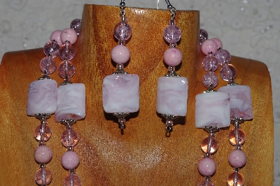 "MBADS #04-809  ""Pink Bead Necklace & Earring Set"""