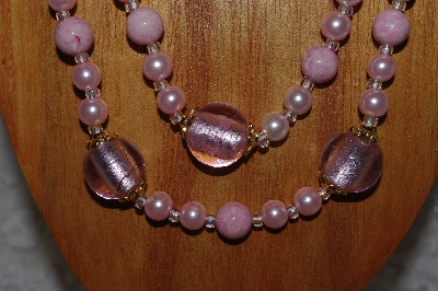 "MBADS #04-814  ""Pink Bead Necklace & Earring Set"""