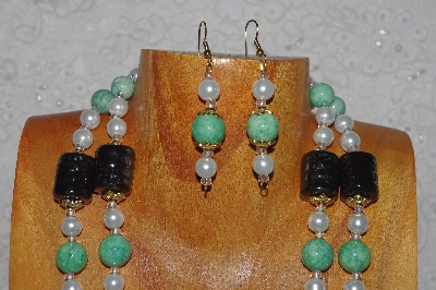 "MBADS #04-819  ""Black,Green & White Bead Necklace & Earring Set"""
