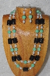 "+MBADS #04-819  ""Black,Green & White Bead Necklace & Earring Set"""