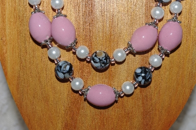 "MBADS #04-824  ""Black, Pink & White Bead Necklace & Earring Set"""