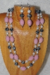 "+MBADS #04-824  ""Black, Pink & White Bead Necklace & Earring Set"""