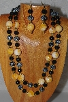 "+MBADS #04-897  ""Black & Yellow Bead Necklace & Earring Set"""