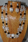 "+MBADS #04-891  ""Tan, Black & White Bead Necklace & Earring Set"""