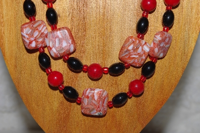 "MBADS #04-884  ""Black & Red Bead Necklace & Earring Set"""