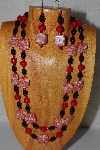 "+MBADS #04-884  ""Black & Red Bead Necklace & Earring Set"""
