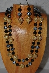 "+MBADS #04-878  ""Yellow & Black Bead Necklace & Earring Set"""