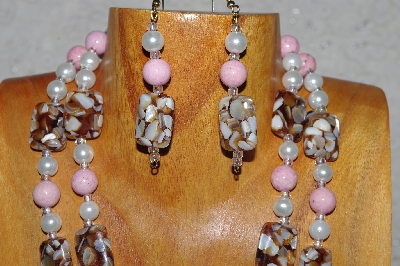 "MBADS #04-873  ""Brown, Pink & White Bead Necklace & Earring Set"""