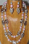 "+MBADS #04-873  ""Brown, Pink & White Bead Necklace & Earring Set"""