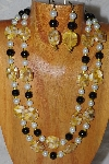 "+MBADS #04-869  ""Yellow,Black & White Bead Necklace & Earring Set"""