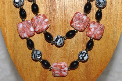 "MBADS #04-863  ""Red & Black Bead Necklace & Earring Set"""