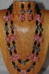 "+MBADS #04-863  ""Red & Black Bead Necklace & Earring Set"""