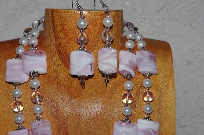 "MBADS #04-858  ""White & Pink Bead Necklace & Earring Set"""