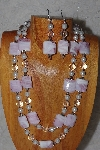 "+MBADS #04-858  ""White & Pink Bead Necklace & Earring Set"""