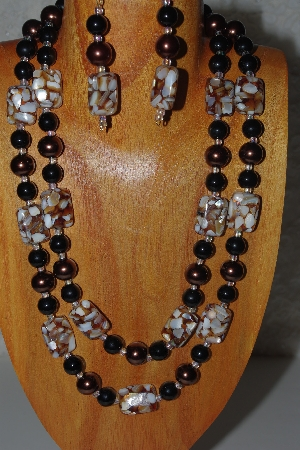 "MBADS #04-853  ""Brown & Black Bead Necklace & Earring Set"""