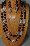 "+MBADS #04-853  ""Brown & Black Bead Necklace & Earring Set"""