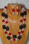 "+MBADS #04-846  ""Red,Black & White Bead Necklace & Earring Set"""