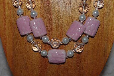 "MBADS #04-830  ""Pink, Clear & White Bead Necklace & Earring Set"""