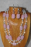 "+MBADS #04-830  ""Pink, Clear & White Bead Necklace & Earring Set"""