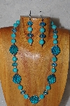 "MBADS #04-957  ""Fancy Blue Bead Necklace & Earring Set"""